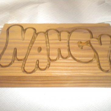 Mecanizado en Madera: Rotulo Nancy