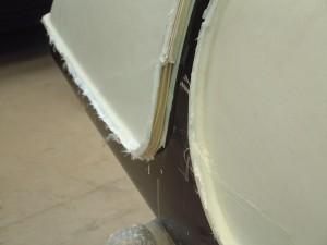 Detalle del plastico delimitador del borde